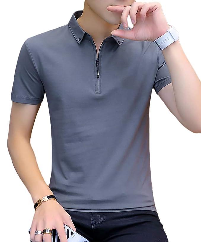アサート買うクラシカル[meryueru(メリュエル)] チェストファスナー スキッパー tシャツ カジュアル 襟付き ポロシャツ 半袖 シャツ メンズ