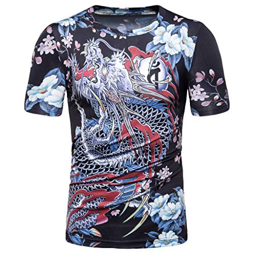Fantastic Prices! TOPUNDER Men's Summer Casual Fashion Printing O-Neck Short Sleeve T-Shirt Top Blou...