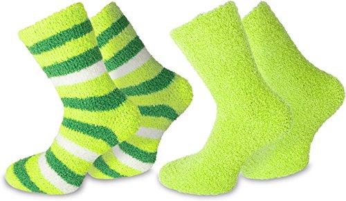 normani 2 Paar Weiche Damen Kuschelsocken Farbe Grün Größe 39/42