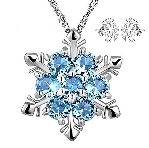 Mujer Collar Cadena copos de nieve mujer azules de copo de nieve colgante collar plata para mujeres niña + Free Copo de nieve Pendientes de Demarkt–