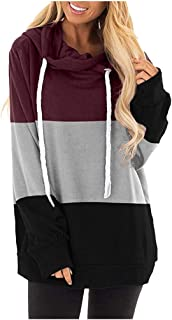 Onefa Women's Fashion High Collar Hooded Sweatshirt Long Sleeve Striped Stitching Shirt Pullover Top Blouse