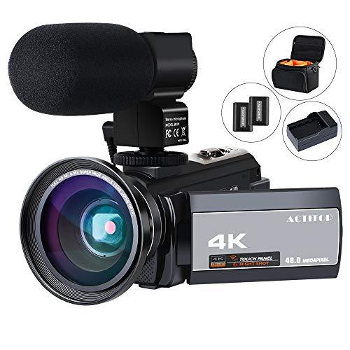 HD ビデオカメラ ACTITOP デジタルビデオカメラ 4K フルHD WIFI機能 16倍デジタルズーム IR夜視機能 3.0インチタッチモニター 外部マイク 超広角レンズ搭載 カメラバッグ 日本語システム (4800万画素)