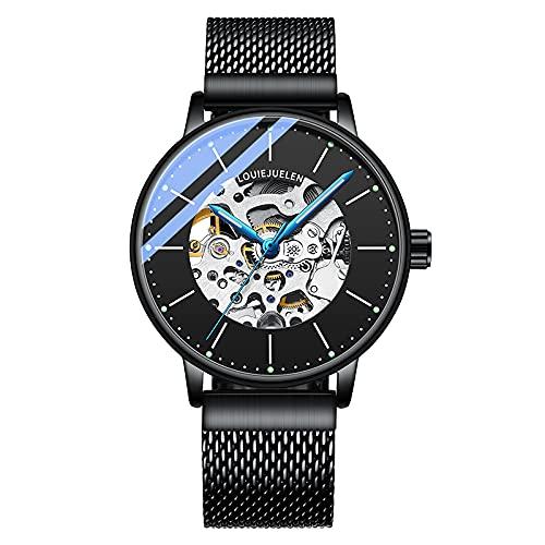 Rcherish Reloj mecánico automático de los Hombres, Relojes de Acero Inoxidable de la maquinaria del Esqueleto Hueco del Negocio Negro de los Hombres,D