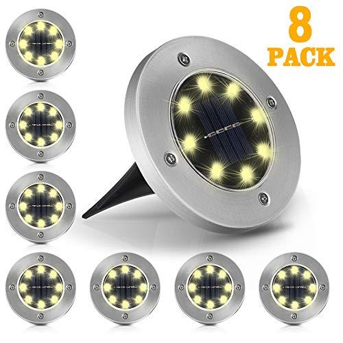 [8 unidades] Lámparas solares de suelo Vivibel 8 LED para exterior, lámparas solares de jardín, color blanco claro, IP65, resistentes al agua, foco de suelo para jardín, iluminación para césped