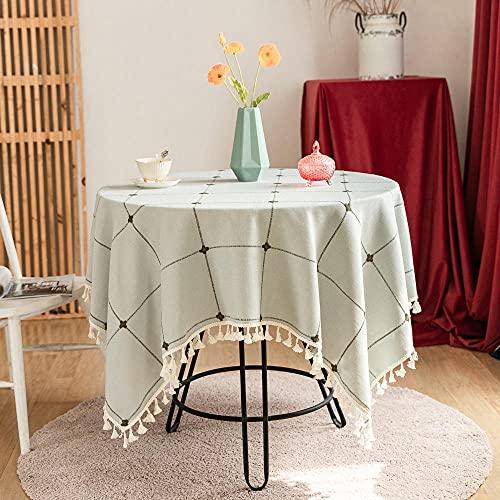 Charm4you Mantel Cuadrado para Comedor,Mantel de algodón a Cuadros-Azul Claro_1.2 * 1.2m,Mantel Elegante Antimanchas Table