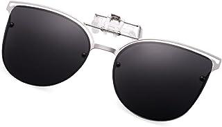 1210dbb5bb8 WELUK Polarized Clip-on Flip up Cat Eye Sunglasses Metal Frame for  Prescription Glasses