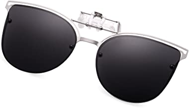 WELUK Polarized Clip-on Flip up Cat Eye Sunglasses Metal Frame for Prescription Glasses