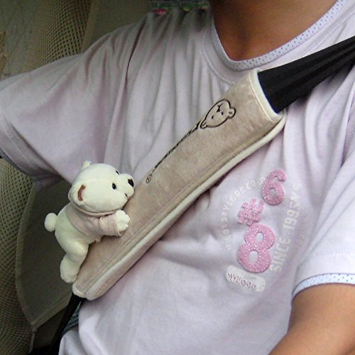 Tianmei 2Pcs Bear Doll Styling Faux Suede Car Seat Belt Strap Cover Shoulder Strap Pad (Beige Color)