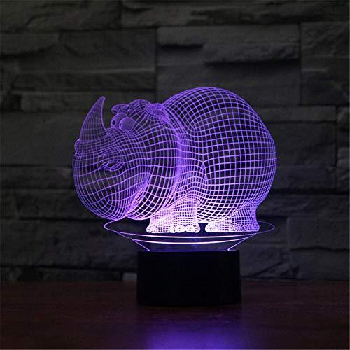 3D noche luz para niños, rinoceronte 3D lámpara de noche 16 colores cambio automático interruptor táctil decoración escritorio lámparas regalo cumpleaños