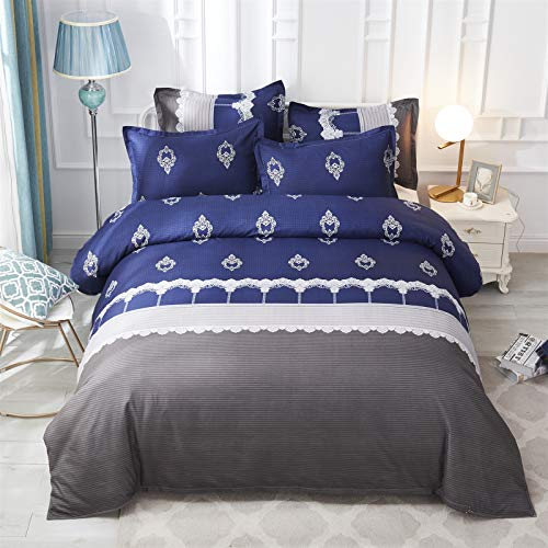 QXbecky Bedding European-Style Pattern Italian Ruida Quilt Cover Pillowcase Without Bed Sheet 3 kit Environmentally Friendly Reactive Printing and Dyeing