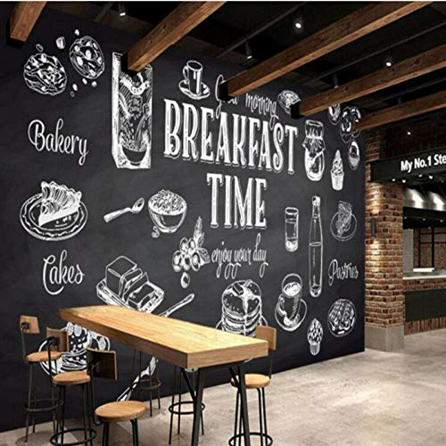 3D foto behang, geschilderd zwart wit muurschildering eten restaurant keuken behang cafe muurschildering, decoratieve schilderij 280 cm (B) x 180 cm (H)