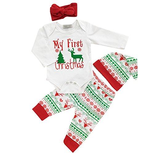 Anguang Bambino Bambino 3Pcs Natale Babbo Abiti Impostato Neonato Infantile Bambino Ragazzo Ragazza Top + Pantaloni + Cappello + Fascia per Capelli Outfits