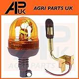 APUK Flexible Flashing Beacon Warning Light +90 Deg DIN Pole to fit John Deere Case Tractor