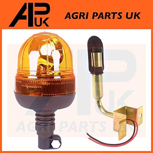 90 Deg DIN Pole to fit John Deere Case Tractor APUK Flexible Flashing Beacon Warning Light