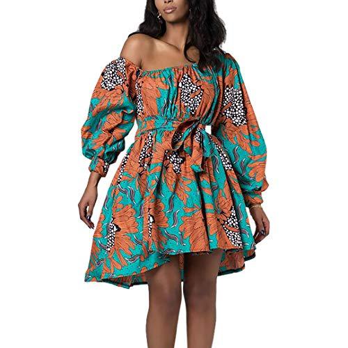 Mocure One Shoulder African Floral Dress 3D Printed Dress with Belt for Party Rave Wedding