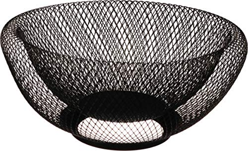 Metal Wire Fruit Basket,Large Round Storage Baskets for Bread,Metal Wire Bread Fruit Bowl Vegetable Stand Holder for Snacks,Modern Fruit Bowl Decorate Kitchen Counter,Black By Cq acrylic