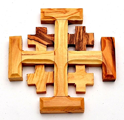 Cruz de Madera de Olivo de Jerusalén Fabricada en Belén (tamaño L/8 x W/8 cm)