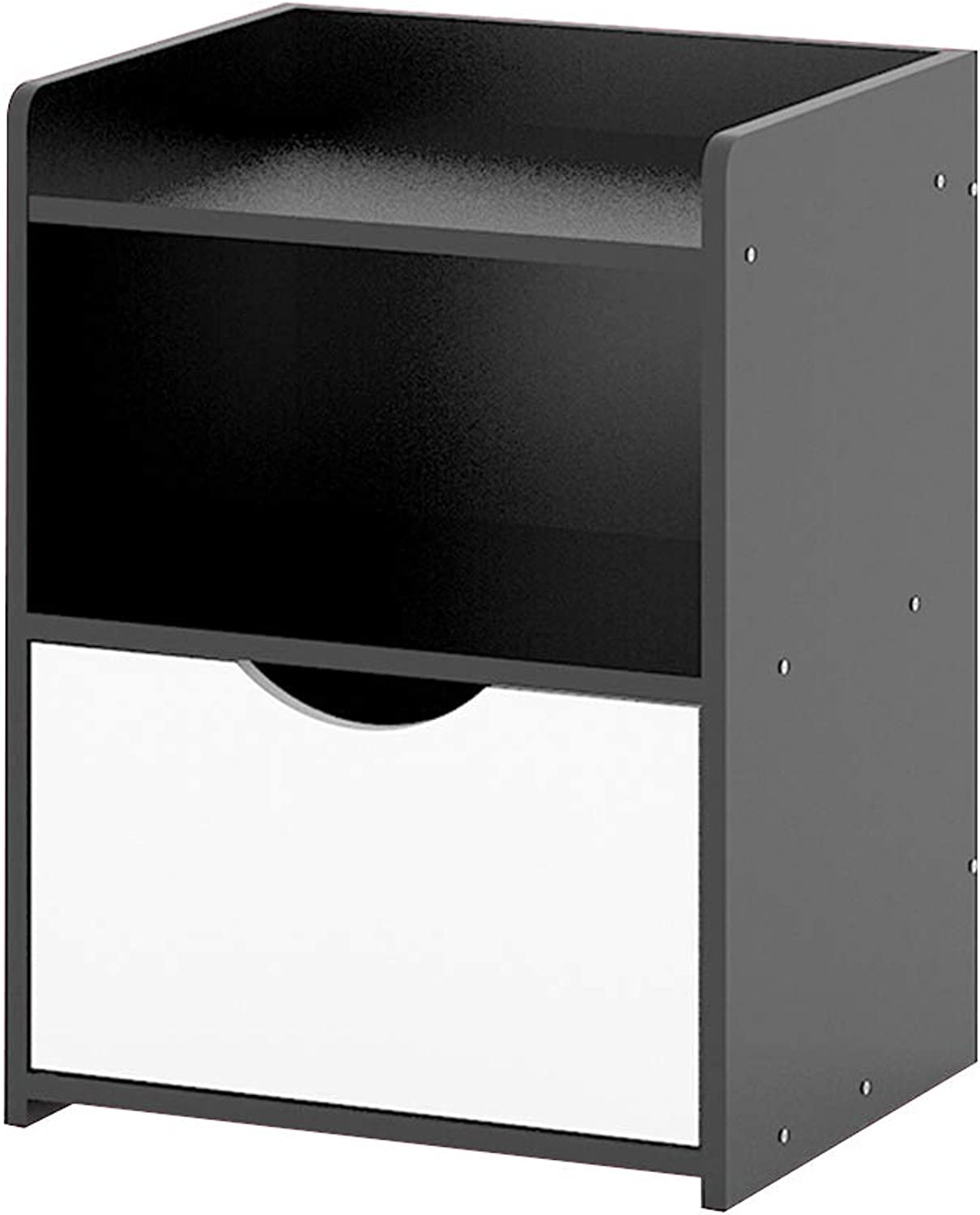 CL Bedside Table- with 1 Drawer, Wooden MDF Side Table Night Stand Bedroom Storage Unit Black Bedside Tables
