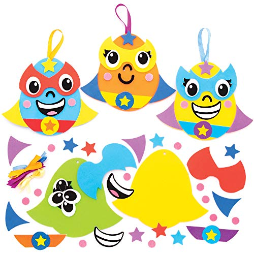 Baker Ross AT461 Heroes Easter Egg Ornament Kits - Pack of 8, Design Your Own Superhero Easter Egg Ornaments Mix & Match Craft Sets