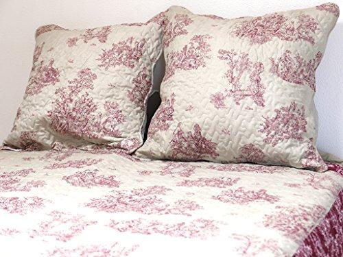 Soleil d'ocre 373091 NOEMIE Couvre-lit boutis matelassé avec 2 Taies d'oreiller Polyester Rouge 220 x 240 cm