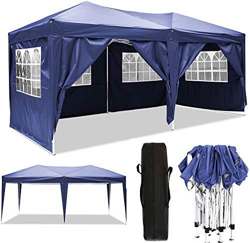 Serface Pavillon Faltpavillon 3x6 Wasserdicht Faltbare Gartenpavillon Festival Sonnenschutz Faltpavillon, UV-Schutz mit 4 Seitenteilen für Garten/Party/Hochzeit/Picknick (3x6m Blau)