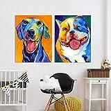 ganlanshu Arte de la Pared Animal Cachorro Bulldog Hound Chihuahua Sala de Estar decoración del hogar,Pintura sin Marco,40X53cmx2