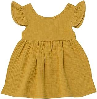 6f5cc6064ff1b Subfamily Robe de Petite Fille Ete Robe à Manches Courtes Robe de Couleur  Unie Ensemble 6