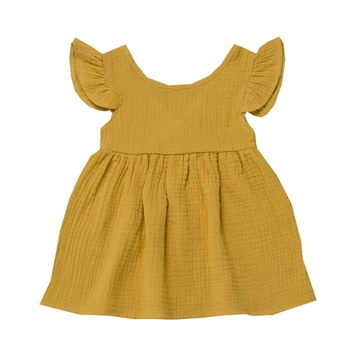 Huarll Toddler Baby Girls Dress Solid Linen Ruffle Sleeve Sleeveless Sundress Summer Party Casual Outfits Clothes