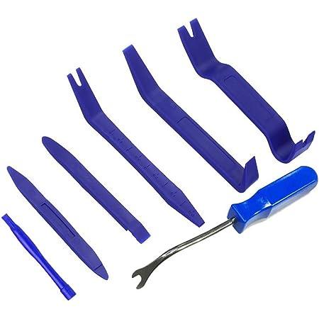内張りはがし Gliston 内装剥がし セット パネルはがし クリップクランプツール 脱着工具 パワーシード 7点セット (ブルー)