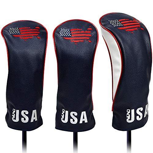 USA Golf Head Covers for Driver & Fairway Woods (Set of 3) - Premium Leather Headcovers, Fits All Woods and Drivers