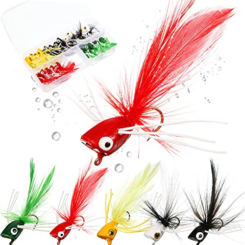 25 Pieces Dry Fly Fishing Popper Lure Kit Bass Poppers Files for Trout Fly Fishing Flies Lure Assortment for Bass Panfish Bluegill Trout Salmon (Mixed Color,Size 8)