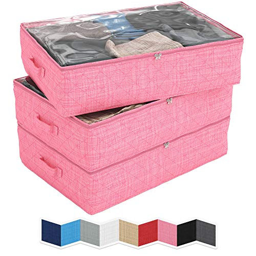 NEATERIZE Under Bed Storage Bags | 3-Pack Underbed Clothing Organizer | Ultra Thick Fabric, Reinforced Handles & Zipper | Stackable Organization and Storage Containers for Bedroom [Pink]