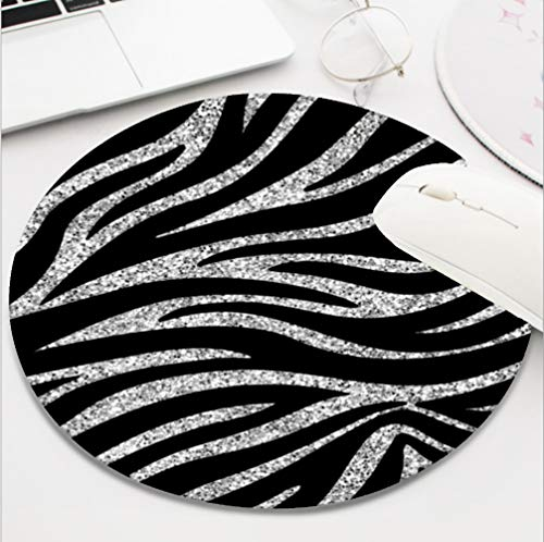 Ydset Charming Black Zebra Print Silver Glitter Sparkles Custom Mouse Pad Waterproof Material Non-Slip Rubber Round Mouse Pad(7.8x7.8x0.08inch) for Office Desktop or Gaming Mouse Mat Keyboard Pad