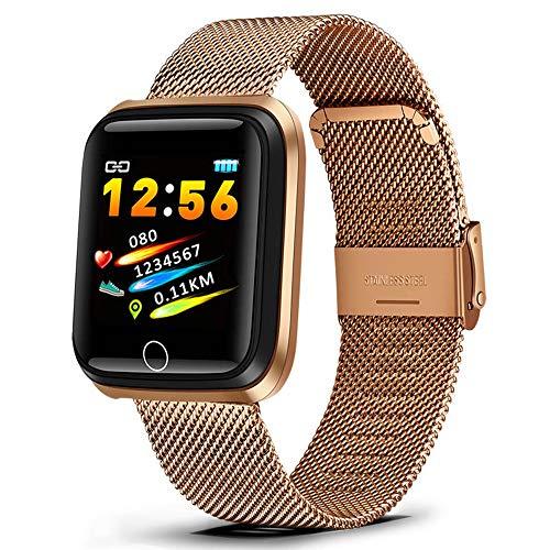 Yuyle Smartwatch, voor heren, hartslag, monitor, bloeddrukmeter, herinnering, sociale app, herinnering, informatie over sociale toepassingen, intelligente armband, Goud
