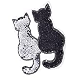 Homyl Patch Thermocollant Autocollant Forme de Deux Chat Appliqués à Coudre Broderie Patch Ecusson pour Vestes Sacs À Dos Jeans Vêtements T-shirt DIY - Noir