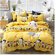 KFZ Bed Set Bedding Set Duvet Cover (No Comforter) Bed Flat Sheet Pillow Covers Twin Full Queen King Sheets Set ZL1906 Pineapple Dinosaur Family Design for Kids (Happy Family, Yellow, Twin 60