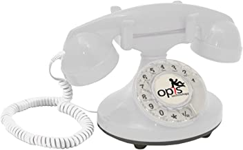 OPIS FunkyFon Cable: Rotary dial disc Telephone in The sinuous Style of The 1920s with Modern Electronic Bell (White)