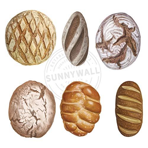 Sunnywall Wandtattoo Aufkleber Wandsticker Küche Genuss - 6 Motive Backwaren Brot
