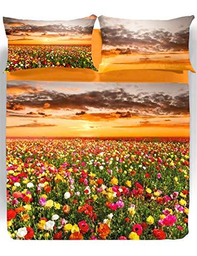 Lenzuola Copriletto Matrimoniali Caleffi FLOWERING FIELDS - 100% Cotone