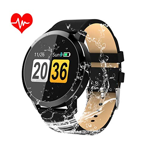 OUKITEL Smart Watch, Bluetooth Smart Watch Touch Screen Wrist Watch Compatible  with Heart Rate Monitor Pedometer Sleep Monitor Call/Message for Men Women Kids (Leather Black)