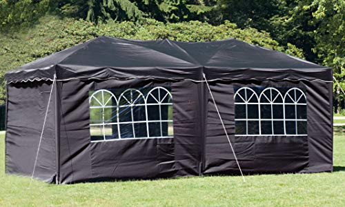 habeig® Wasserdichter Faltpavillon 3x6m Taupe Anthrazit Pavillon inkl. Seiten mit Fenster Partyzelt Stahlverbinder (Grau (Dunkel))