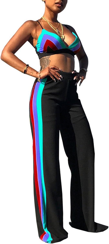 be285a3818 Darceeneth Women Sexy Two Piece Stripe Crop Top Bra Wide Leg ...