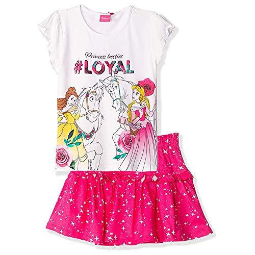 Disney Offizielles Prinzessinnen-Kostüm für Mädchen, kurzärmelig, T-Shirt und Rock, 100 % Baumwolle, 2–8 Jahre Gr. 5-6 Jahre, weiß
