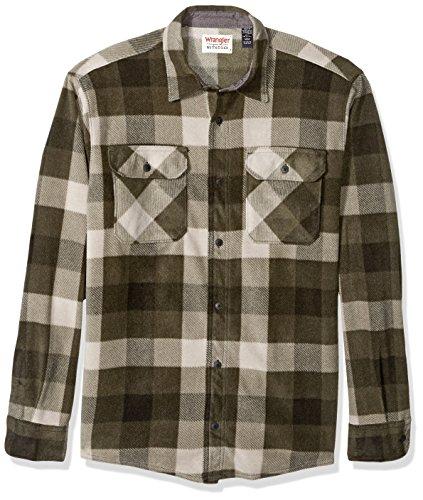 Wrangler Authentics Men's Long Sleeve Plaid Fleece Shirt, Grape Leaf Buffalo, X-Large