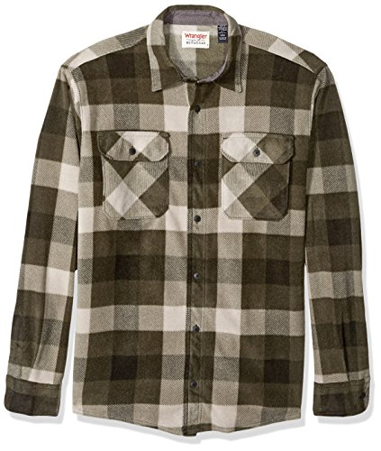 Wrangler Authentics Men's Long Sleeve Plaid Fleece Shirt, Grape Leaf Buffalo, X-Large
