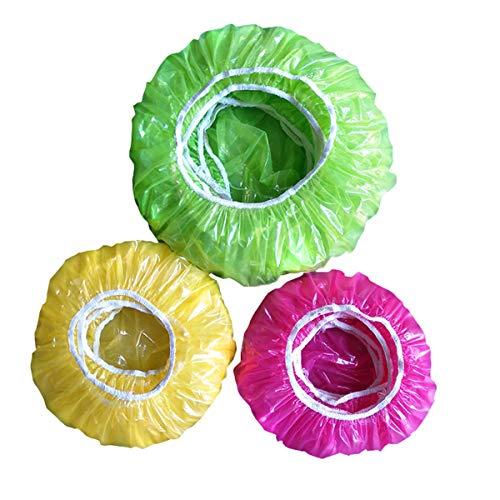 90 Stück Topfhauben aus Kunststoff Schüsseln Tassen Abdeckhauben Lebensmittel Abdeckung Staubschutzhülle aus Kunststoff Einweg Wasserdichte Duschhaube Frische-Schutz-Paket für Gemüse Frischeschutz