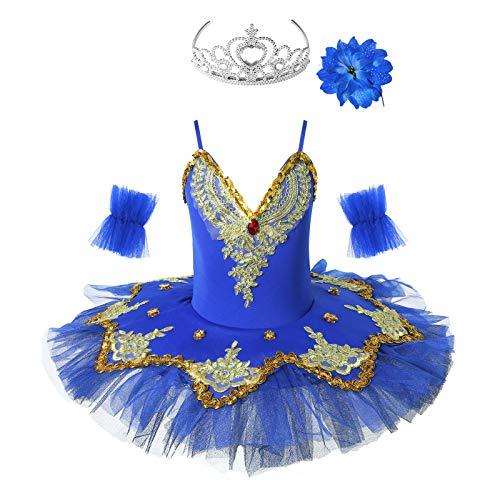 iixpin Vestido de Danza Ballet Maillot con Falda Tut Flores para Gimnasia Ritmica Maillot Bordados de Patinaje Artistico Disfraz de Bailarn Nias Azul Oscuro 9-10 aos