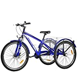 VANELL Adult Mountain Tricycle 20/24/26 in 7/1 Speed Three Wheel Cruiser Trike Bike with Front Suspension Fork Front Disc Brake MTB Tire Bicycle (Blue, 7speed&26')