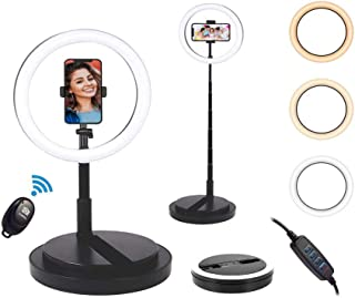"""ChenFec Portable 11.4"""" Selfie Ring Light with Stand and Phone Holder,Foldable Makeup Light 22.8"""" - 66"""" Stretchable Selfie ..."""