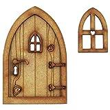 Decoración 3D para puerta de hadas de madera con flor y setas, placa y pantuflas de hadas